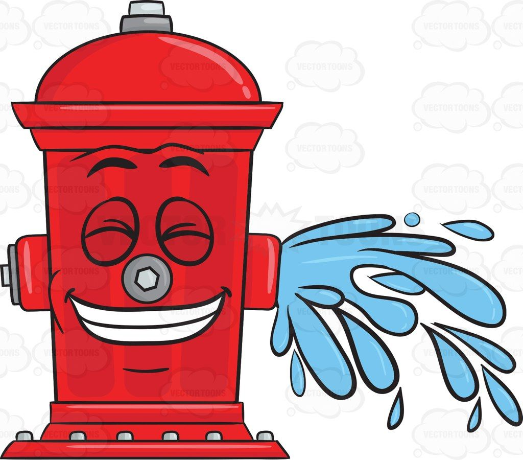 Children-s clipart fire hydri svg royalty free library Giddy Looking Fire Hydrant While Flushing Water Emoji 1 | illustrations svg royalty free library