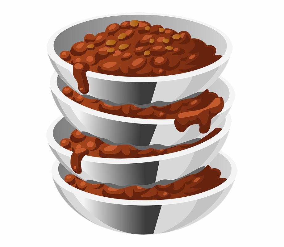 Chili bean clipart vector Beans, Cooked, Food, Steel, Bowls, Four, Servings - Bowl Of Chili ... vector