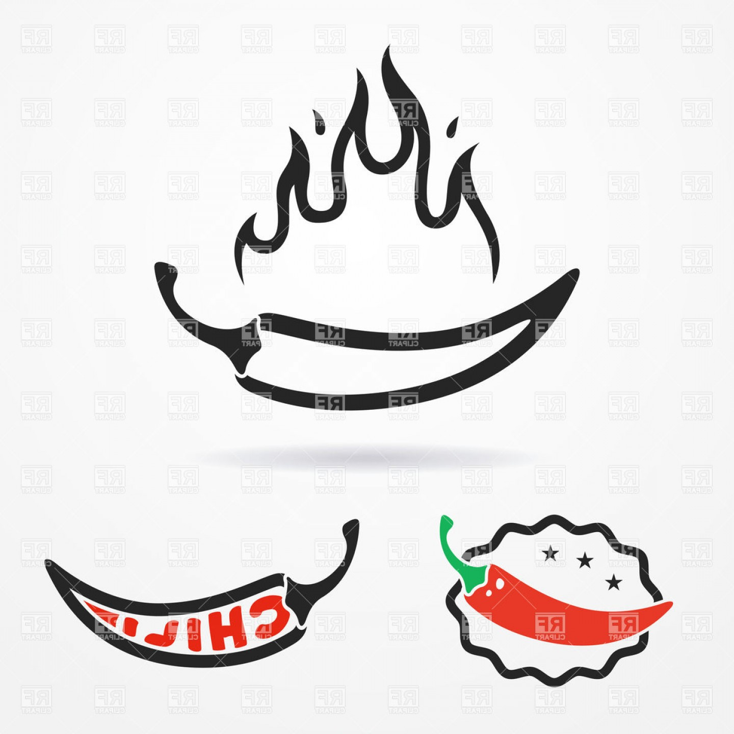 Chili with flame clipart svg download Flat Emblems With Red Chili Peppers And Flame Vector Clipart ... svg download