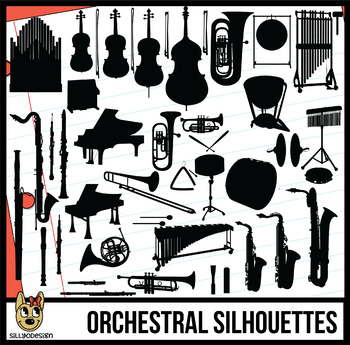 Chimes orchestra clipart svg black and white library Instruments of the Orchestra and Band Clip Art Silhouettes svg black and white library