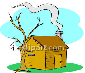 Chimney with smoke clipart picture freeuse stock Smoke Coming From the Chimney of a Small Cabin - Royalty Free ... picture freeuse stock