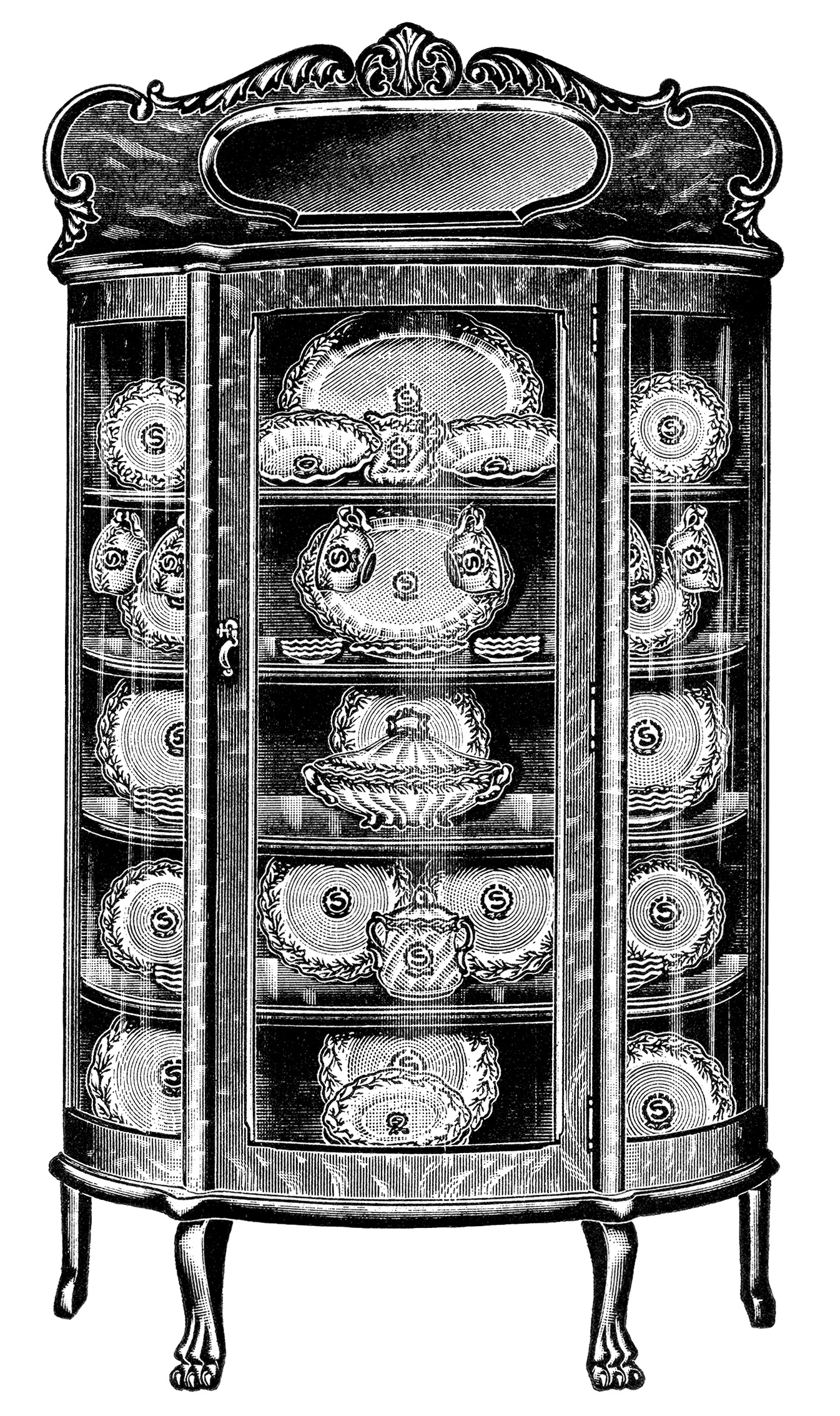 China cabinet clipart vector download Beautiful China Cabinets - Old Design Shop Blog vector download