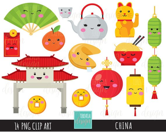 China clipart graphic stock 50% SALE CHINA clipart, digital clipart, commercial use, kawaii ... graphic stock