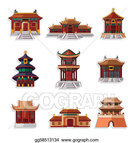 China house roof cliparts image stock EPS Vector - Cartoon chinese house icon set. Stock Clipart ... image stock