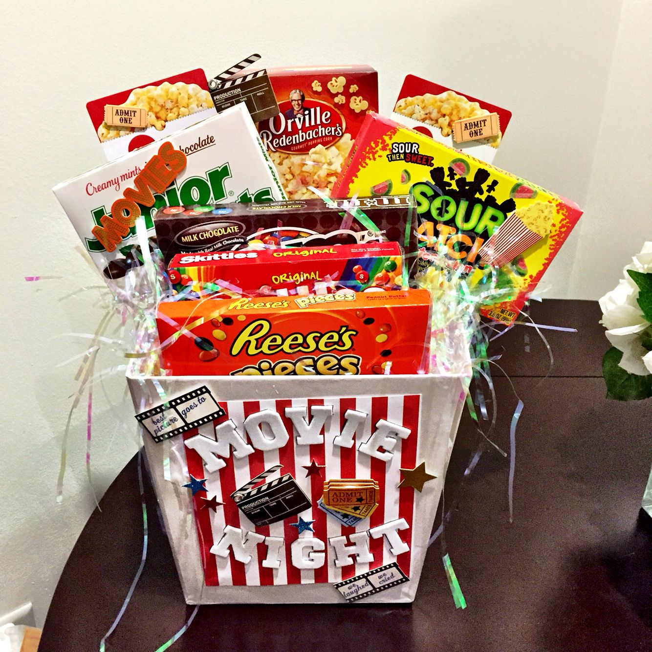 Silent auction movie night basket Tricky Tray basket ideas | Crafty ... png black and white library