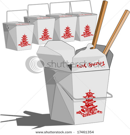 Chinese box clipart banner royalty free download Chinese Fast Food Boxes - Vector Clip Art Illustration Picture banner royalty free download