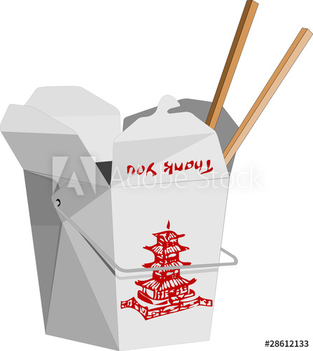 Chinese box clipart image black and white library Chinese To-Go Box - Buy this stock vector and explore similar ... image black and white library