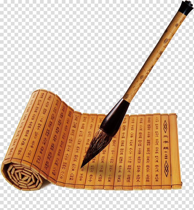Chinese brush clipart free library Ink brush Three Character Classic Bamboo and wooden slips Classical ... free library