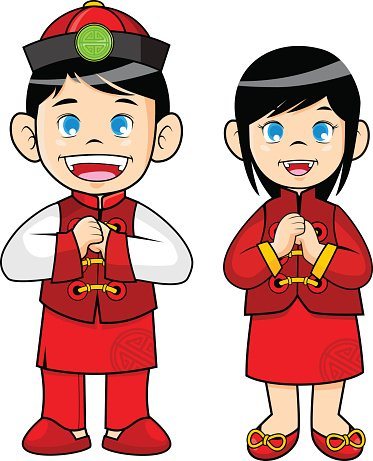Chinese clothes clipart clip art Boy and Girl Wearing Traditional Chinese Clothes premium clipart ... clip art