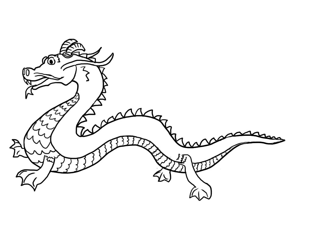 Chinese dragon tail clipart vector black and white Chinese Dragon Pictures For KidsFun Coloring | Fun Coloring ... vector black and white