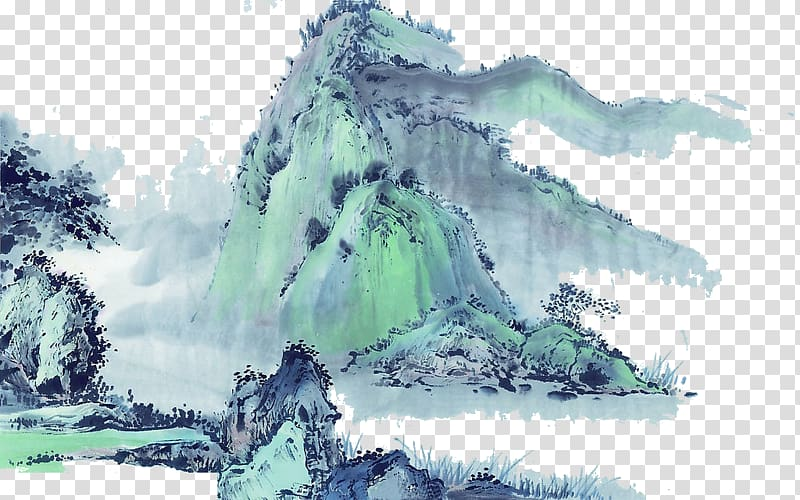 Chinese landscape painting clipart