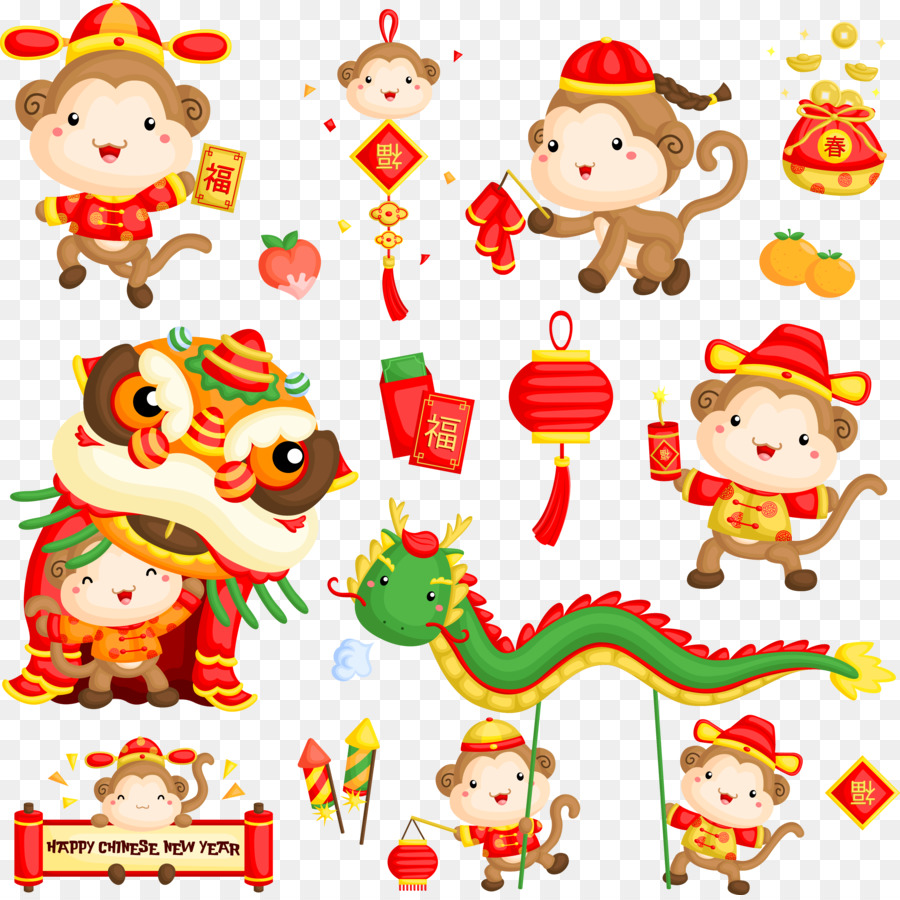 Chinese new year image clipart year of monkey clip black and white download Christmas And New Year Background png download - 3442*3423 - Free ... clip black and white download