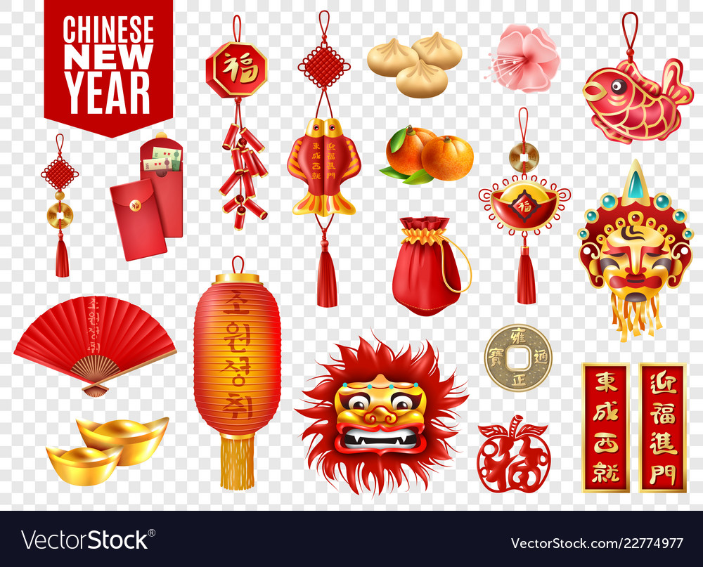 Chinese new year vector clipart banner transparent download Chinese new year transparent set banner transparent download