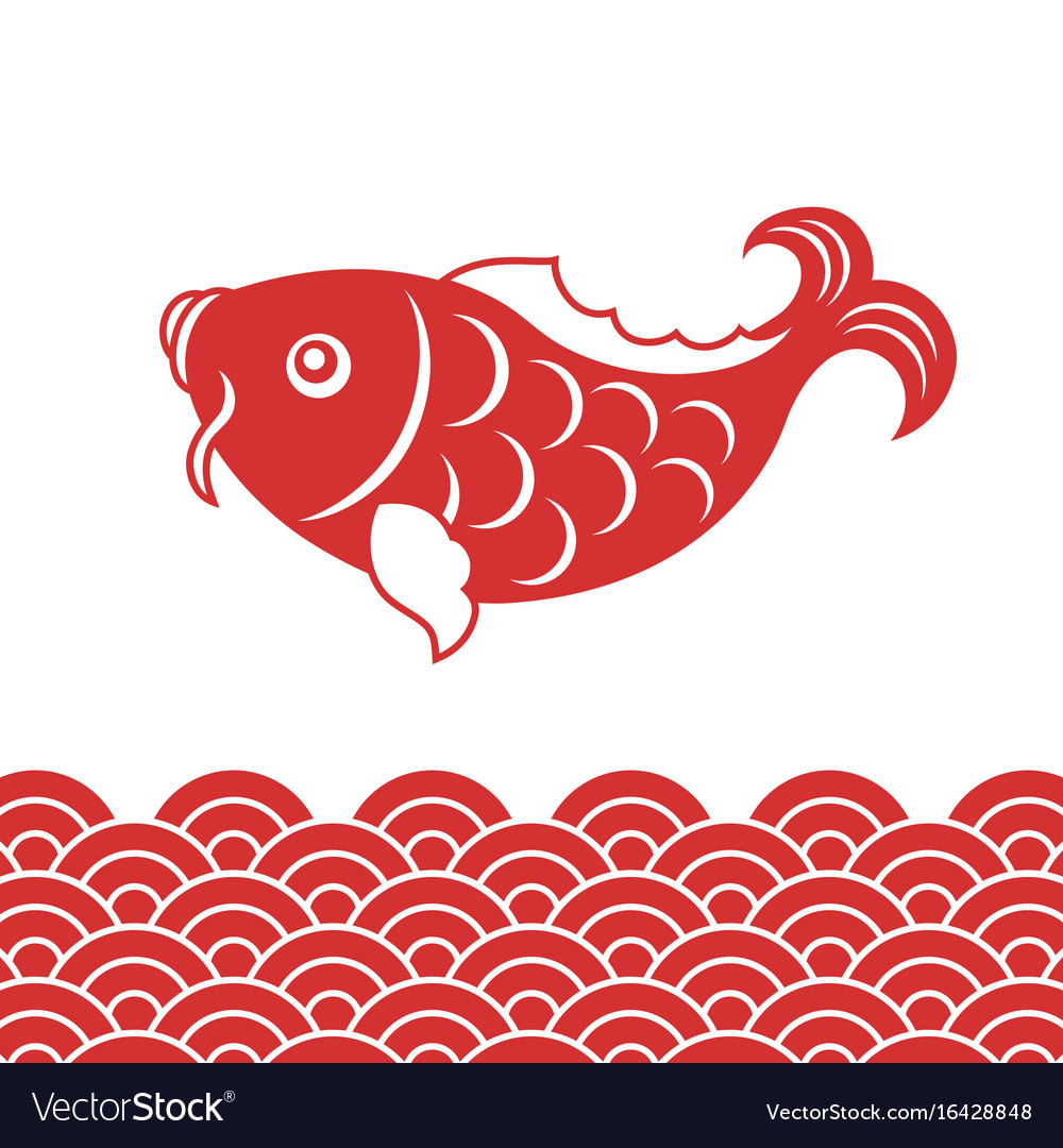 Chinese new year vector clipart vector royalty free library Carp fish and wave for chinese new year vector royalty free library