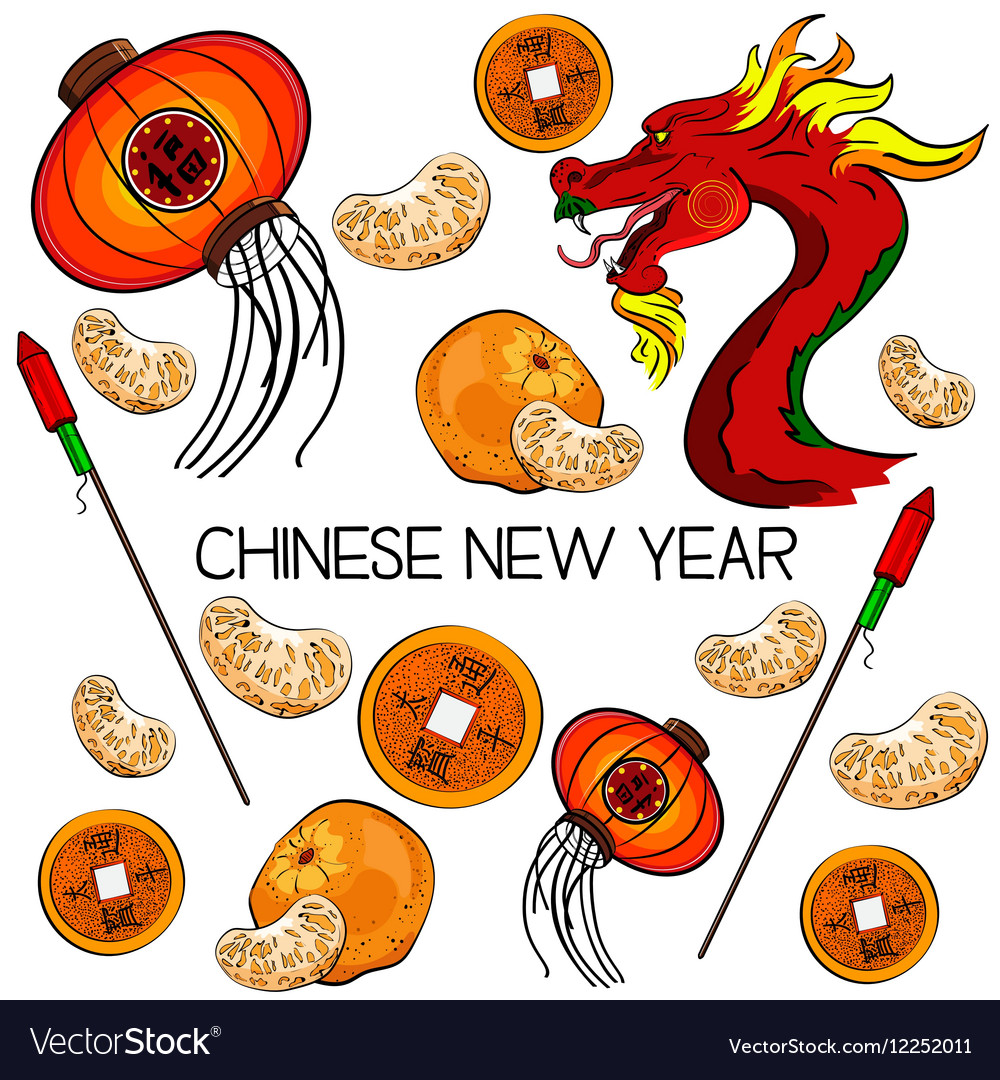 Chinese new year vector clipart clip art freeuse stock Traditional symbols of Chinese New Year clip art freeuse stock