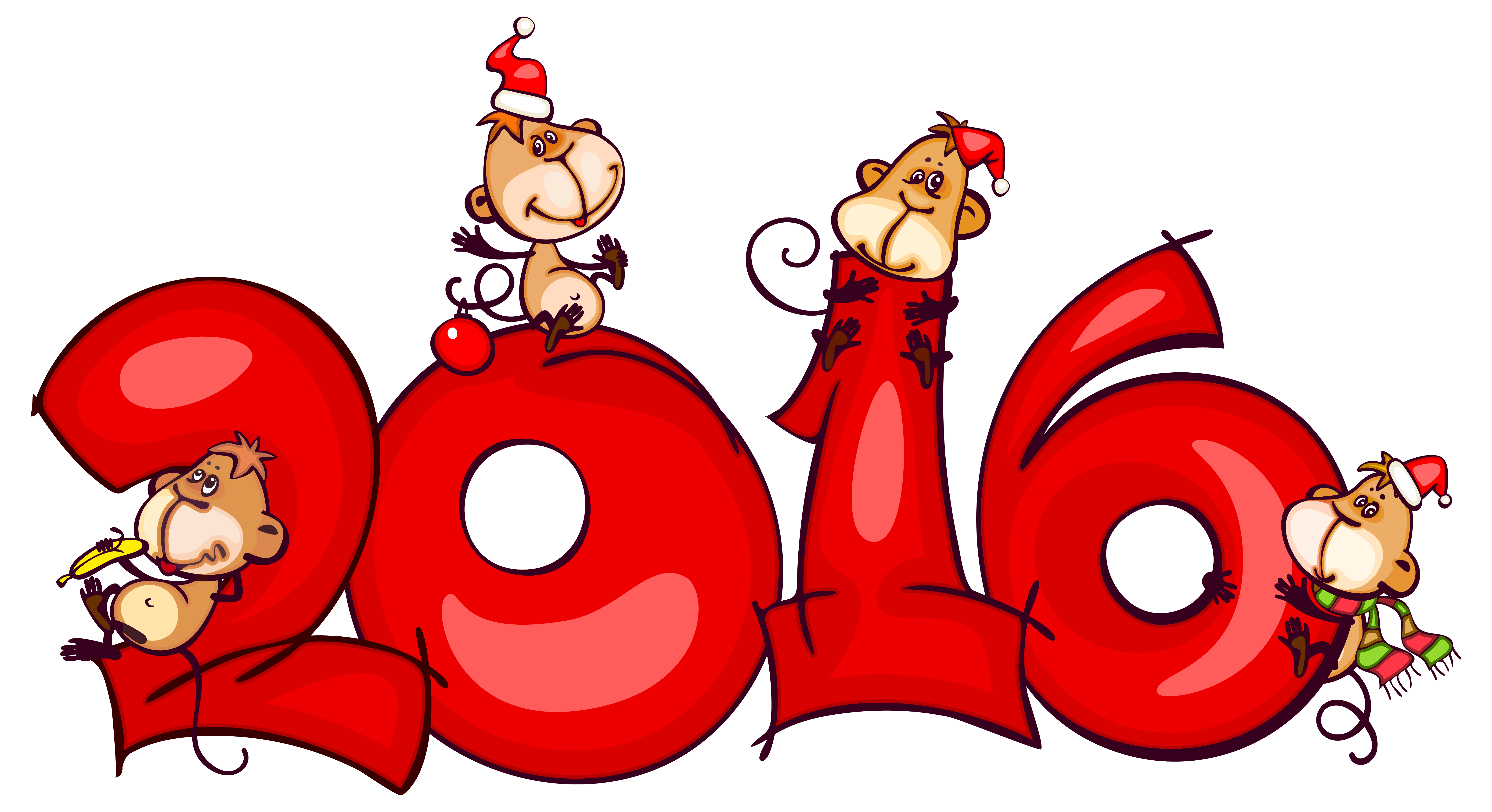 Christmas 2016 clipart jpg library download 2016 with Monkeys PNG Clipart Image | Gallery Yopriceville - High ... jpg library download