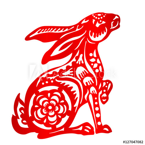Chinese zodiac clipart paper cutting rabbit clipart royalty free stock Zodiac Sign for Year of Rabbit, The Chinese traditional paper-cut ... clipart royalty free stock