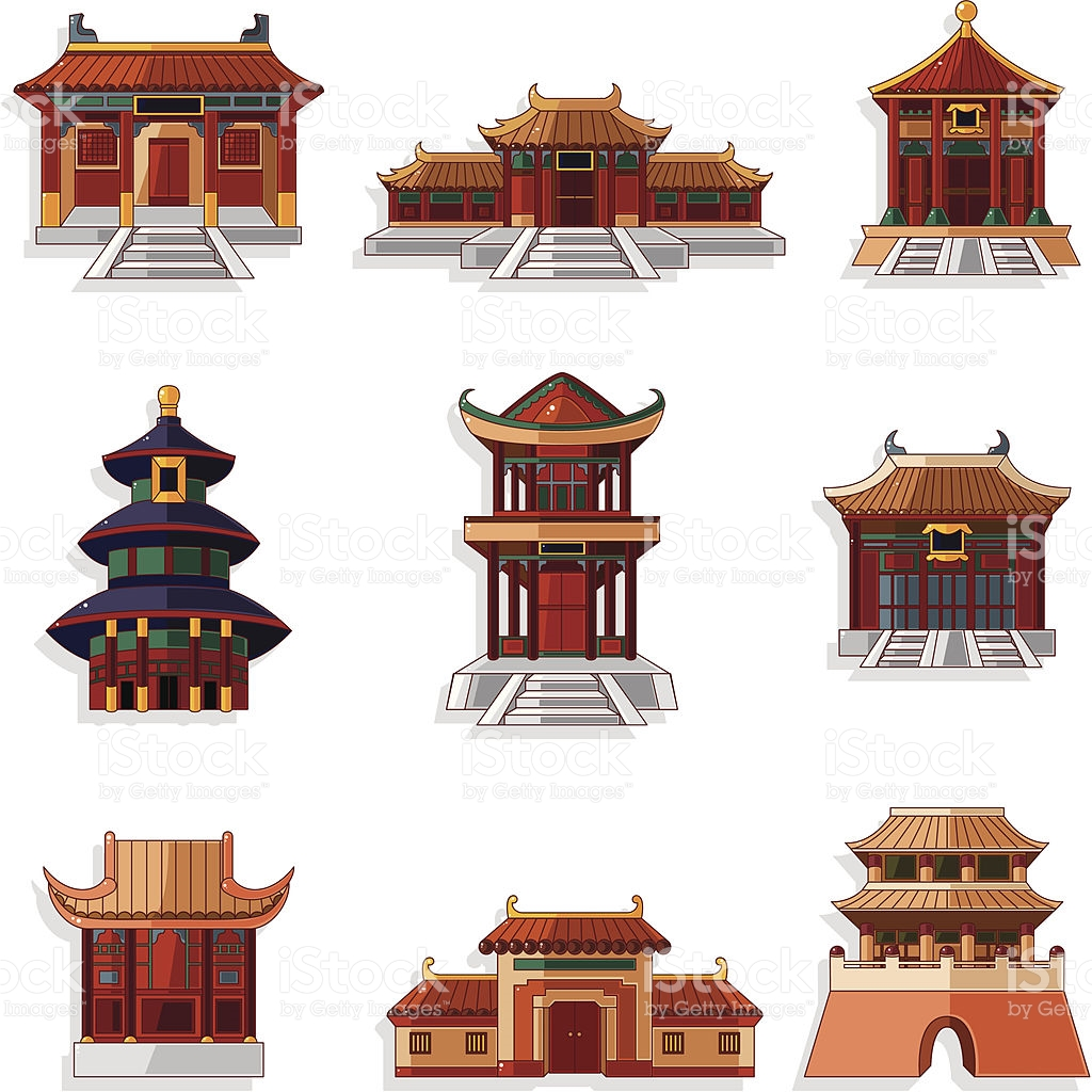 Chinesisches haus clipart png download Cartoon Chinesische Haus Symbole Set Vektor Illustration 122185241 ... png download