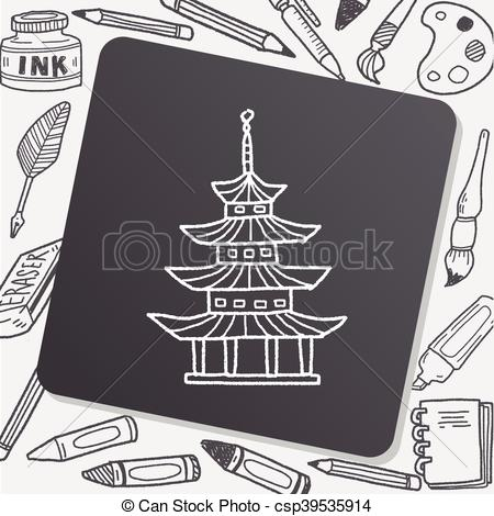Chinesisches haus clipart png black and white download Vektor Clip Art von haus, chinesisches, Gekritzel - chinesisches ... png black and white download