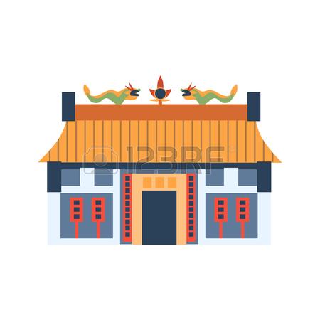 Chinesisches haus clipart clipart black and white stock Klassische Chinesische Haus Mit Drachen Auf Dem Dach-Wohnung Helle ... clipart black and white stock