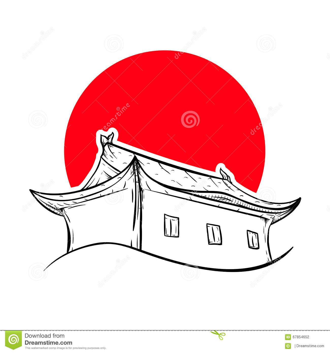 Chinesisches haus clipart svg download Chinesisches Haus Und Rote Sonne Vektor Abbildung - Bild: 67854652 svg download