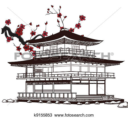 Chinesisches haus clipart clip art library Clip Art of Japanese house drawing k16412279 - Search Clipart ... clip art library