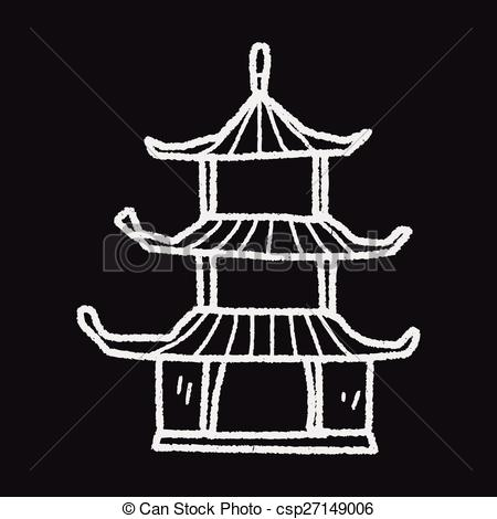 Chinesisches haus clipart. Clipartfest chinese house doodle