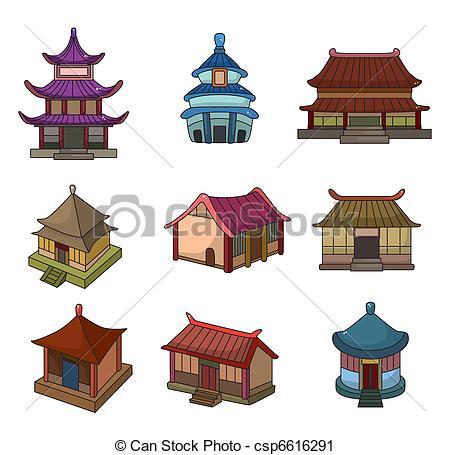 Chinesisches haus clipart image transparent library Vektor Clip Art von satz, chinesisches, haus, karikatur, Ikone ... image transparent library