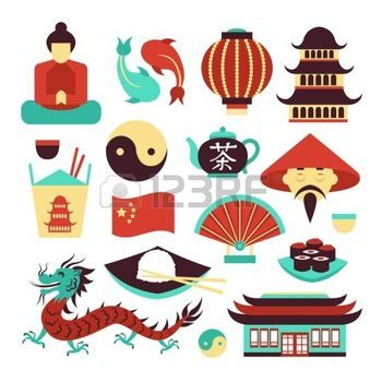 Chinois anniversaire clipart jpg black and white stock chine: China Travel symboles traditionnels de la culture asiatique ... jpg black and white stock
