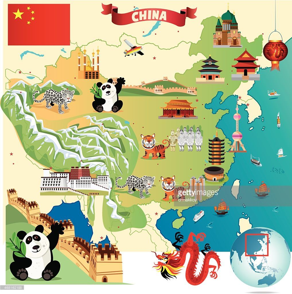 Chinois anniversaire clipart picture royalty free library Cartoon map of China | OWI Photoshop | Chine carte, Grande muraille ... picture royalty free library