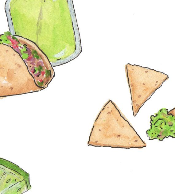 Sopapilla clipart clipart library download Watercolor Tacos & Margaritas Illustrations - Digital Download, Clip ... clipart library download