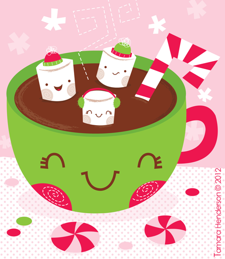 Chocolate and marshmallows clipart picture black and white download Hot Chocolate & Marshmallows. Illustration by Tamara Henderson | My ... picture black and white download