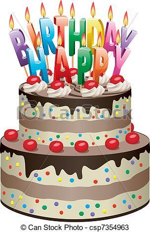Chocolate birthday cake clipart freeuse library Vectors of birthday cake - vector delicious chocolate cake with ... freeuse library