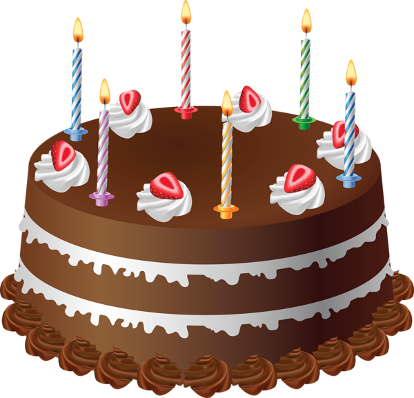 Chocolate birthday cake clipart picture library download Chocolate Cake with Candles Art PNG Large Picture | cumpleaños ... picture library download