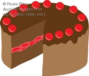Chocolate cherry cake clipart jpg freeuse Clipart Illustration of a Chocolate Cherry Cake jpg freeuse