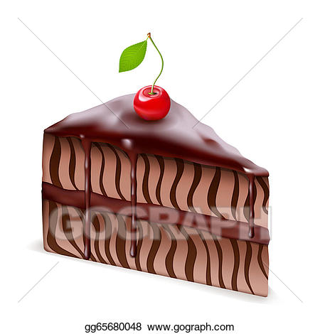 Chocolate cherry cake clipart jpg royalty free download Drawing - Chocolate cake with cherry. Clipart Drawing gg65680048 ... jpg royalty free download