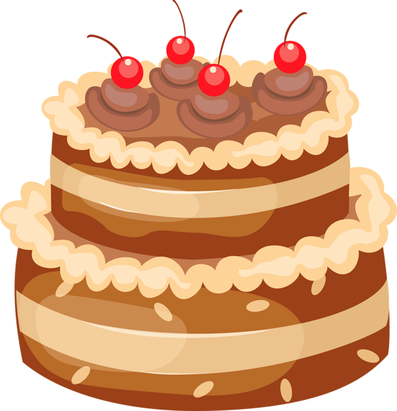Chocolate cherry cake clipart