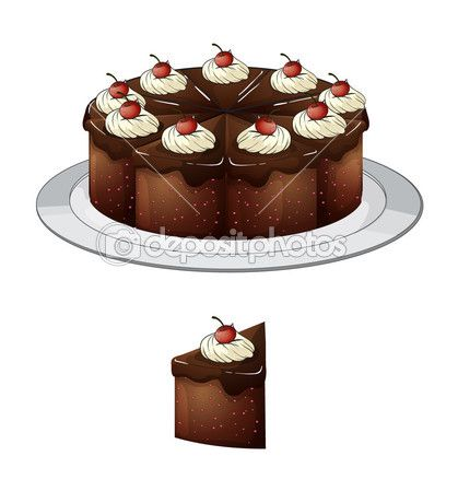 Chocolate cherry cake clipart clipart transparent Chocolate cake with cherries — Stock Illustration #18830759 | CLIP ... clipart transparent