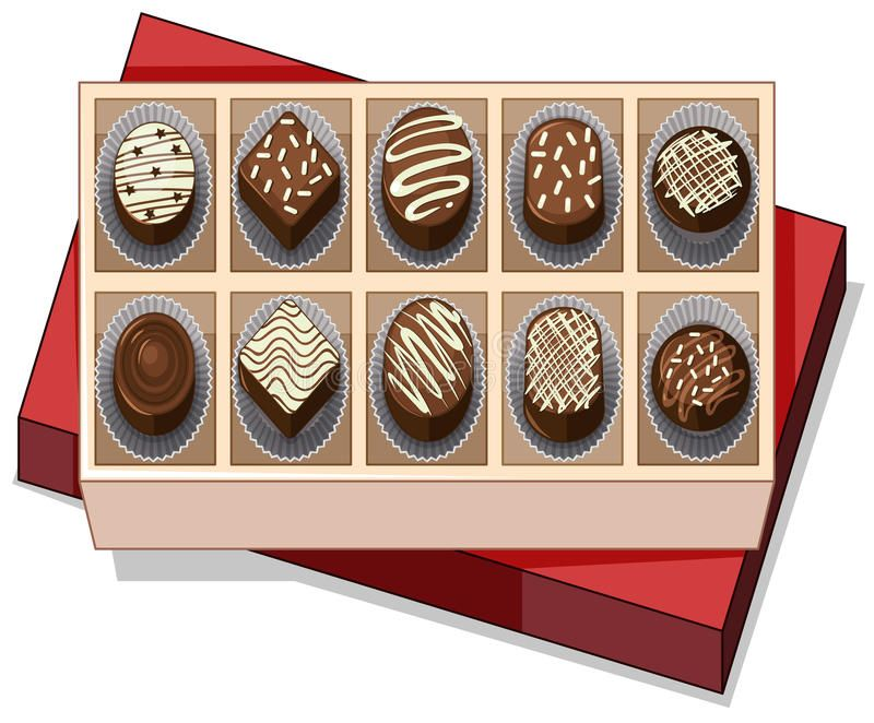 Chocolate clipart box jpg transparent library Photo about Box of chocolate with red lid illustration. Illustration ... jpg transparent library