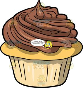 Chocolate frosting clipart graphic black and white Vanilla Cupcake With Chocolate Icing graphic black and white