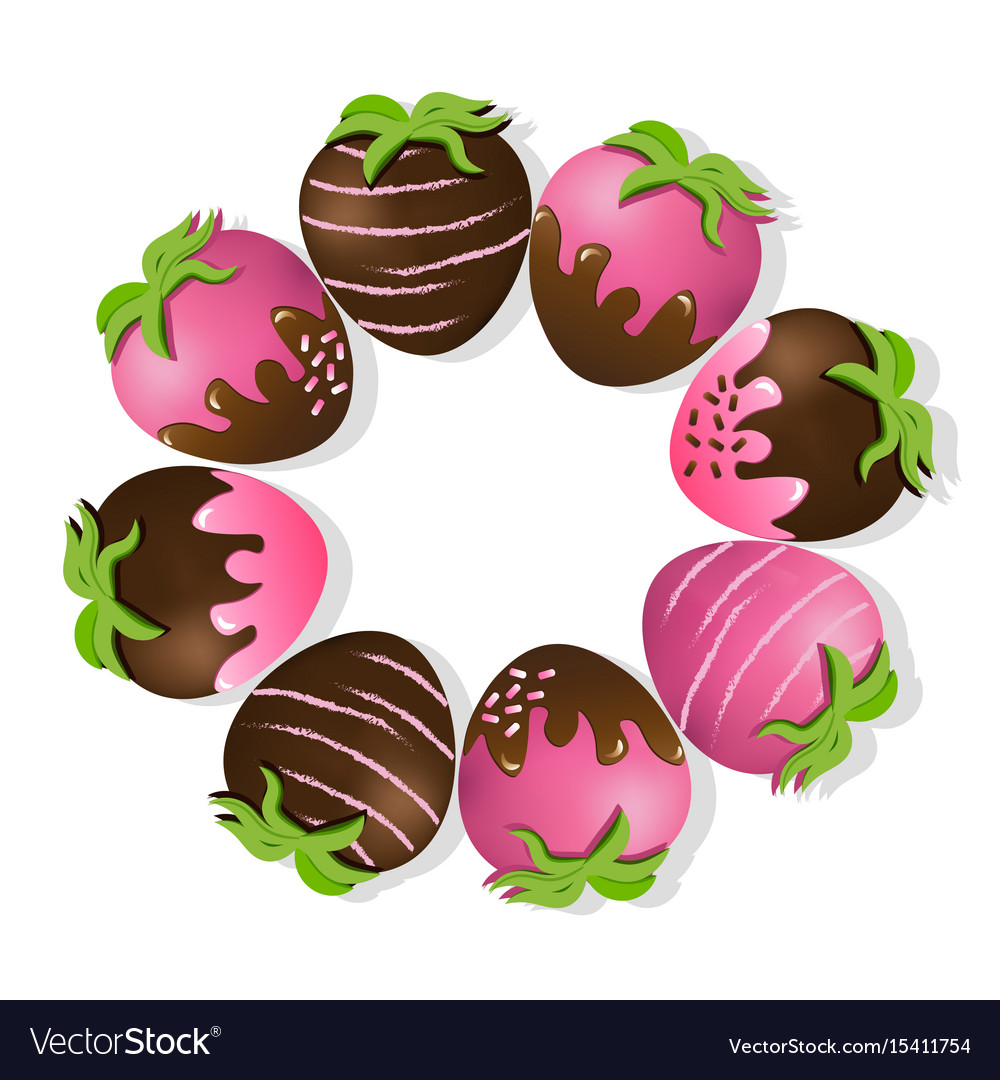 Clipart chocolate covered strawberries vector free download Strawberries delicious chocolate dipped top view vector free download