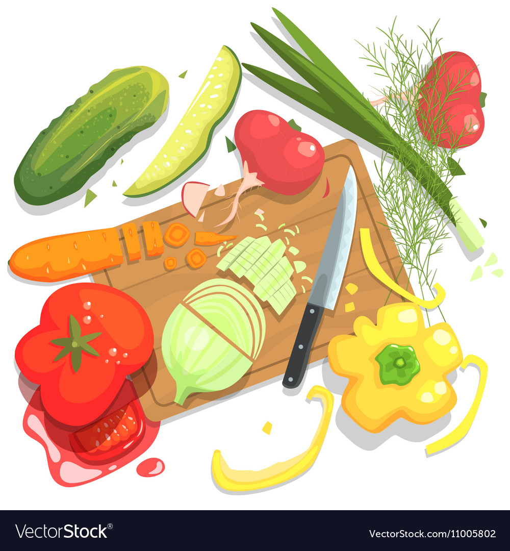 Chopped vegetables clipart clipart freeuse Cutting Vegetables With Board And clipart freeuse