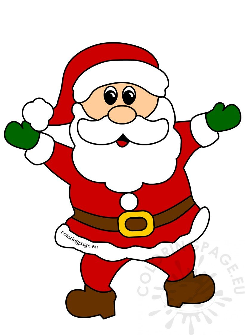 Christimas clipart vector black and white stock Cheerful Santa Claus Christmas clipart – Coloring Page vector black and white stock
