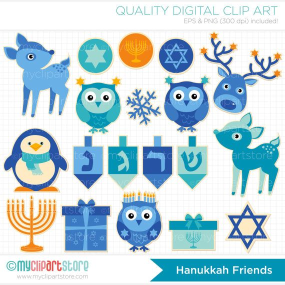 Chrisstmas and hannukah clipart graphic library download Clipart - Hanukkah Animal Stickers - Digital Clip Art (Instant ... graphic library download