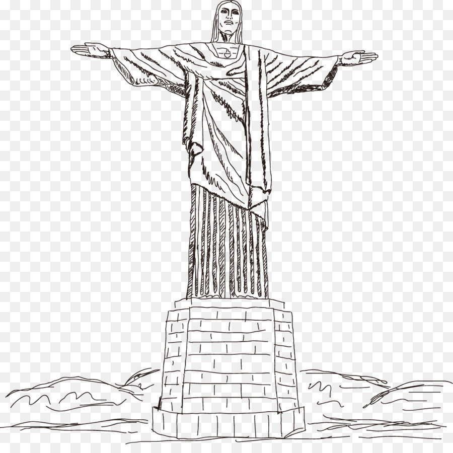 Christ brazil statue black and white clipart graphic free library Jesus Christ png download - 1065*1045 - Free Transparent Christ The ... graphic free library
