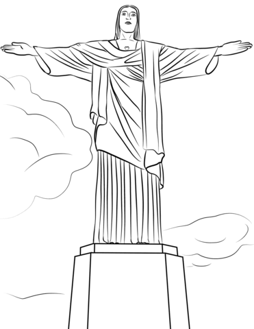Christ brazil statue black and white clipart png free Christ the Redeemer Statue coloring page | Free Printable Coloring Pages png free