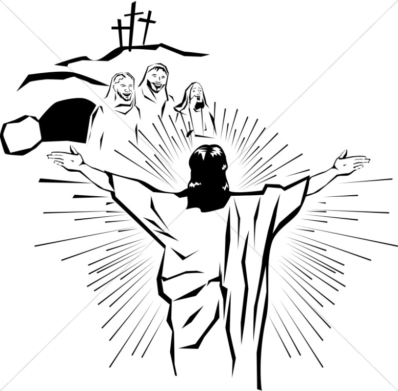 Clipart easter jesus clip black and white download Resurrected Christ Appears to the People | Easter Clipart clip black and white download