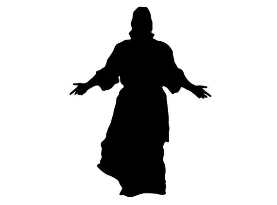Jesus arms open clipart black and white vector library stock Jesus Decal. Jesus with Open Arms Sticker. Jesus Christ Silhouette ... vector library stock