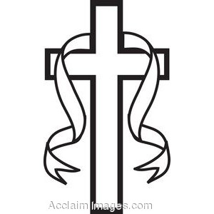 Christian black and white clipart jpg freeuse Black white clip art picture of a black and white cross with ribbon ... jpg freeuse
