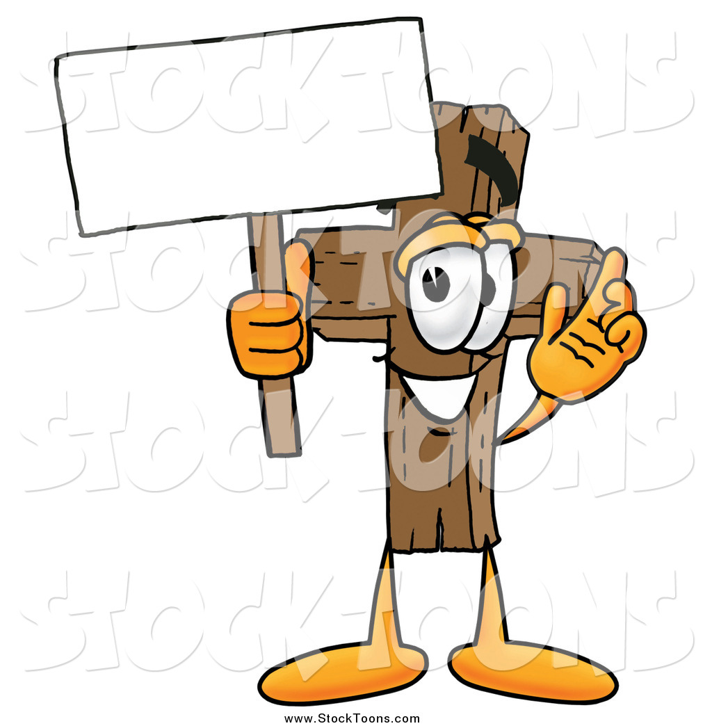 Christian character clipart jpg freeuse library Stock Cartoon of a Wooden Christian Cross Mascot Cartoon Character ... jpg freeuse library